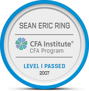 Sean Ring passed CFA Level I Badge